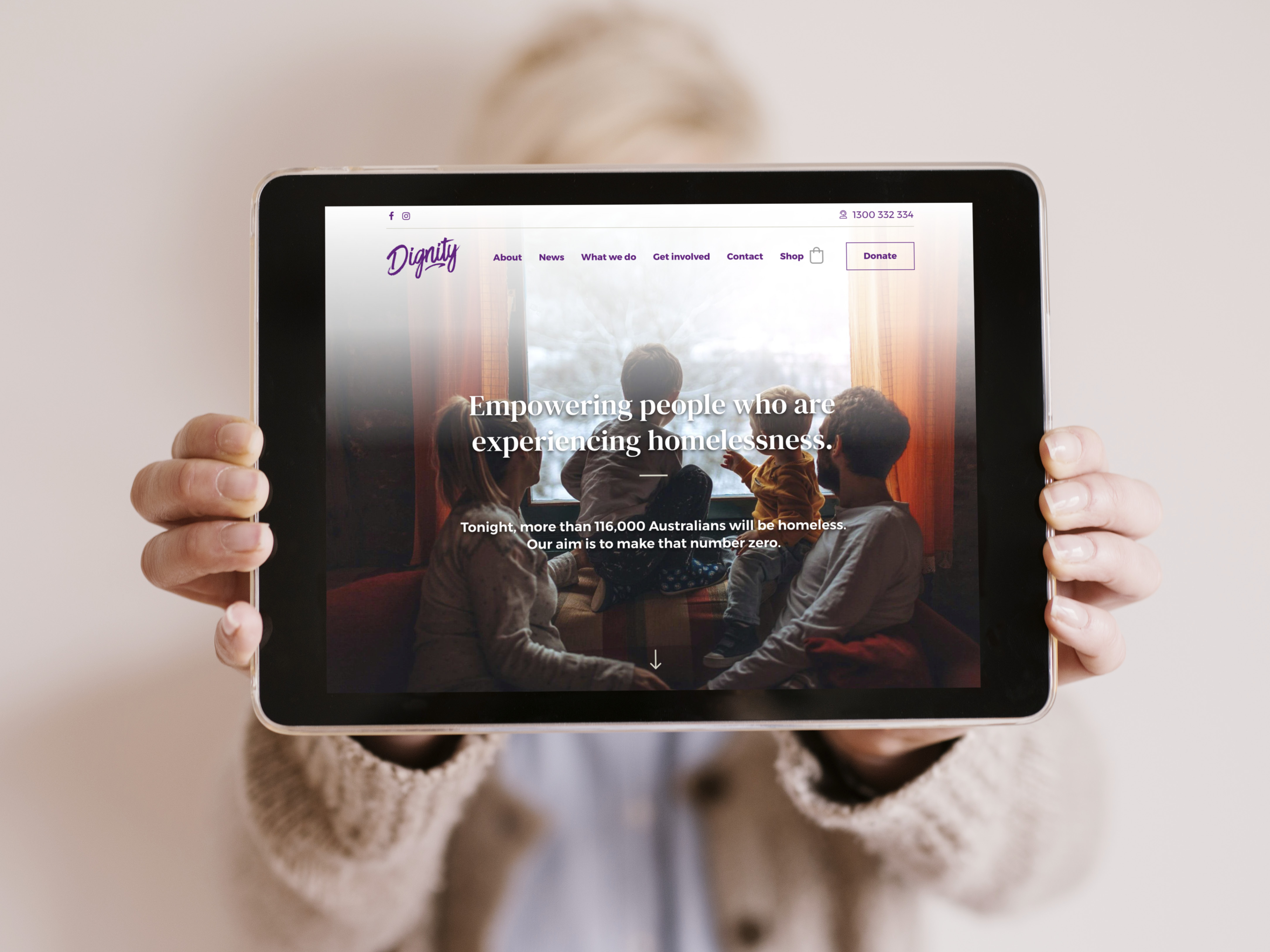 New Dignity website homepage on a tablet