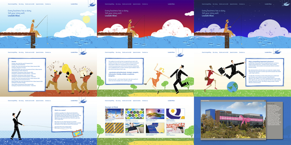 Loulaki Blue website screens
