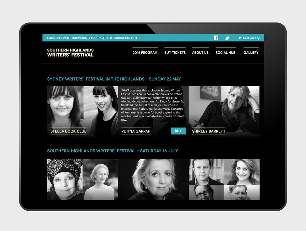 2016 Southern Highlands Writers' Festival website - tablet version